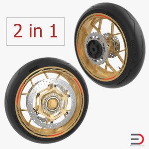 3D model sport motorcycle wheels