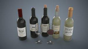 bottles wine glasses model