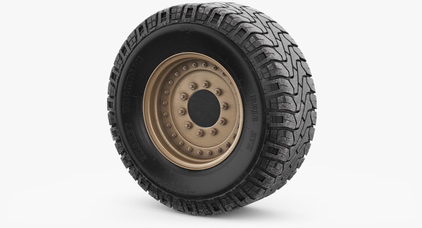 wheel military 3 3D model