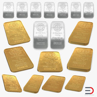 Gold and Silver Bars 3D Models Collection