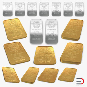 gold silver bars 3D