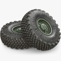 3D wheels military model