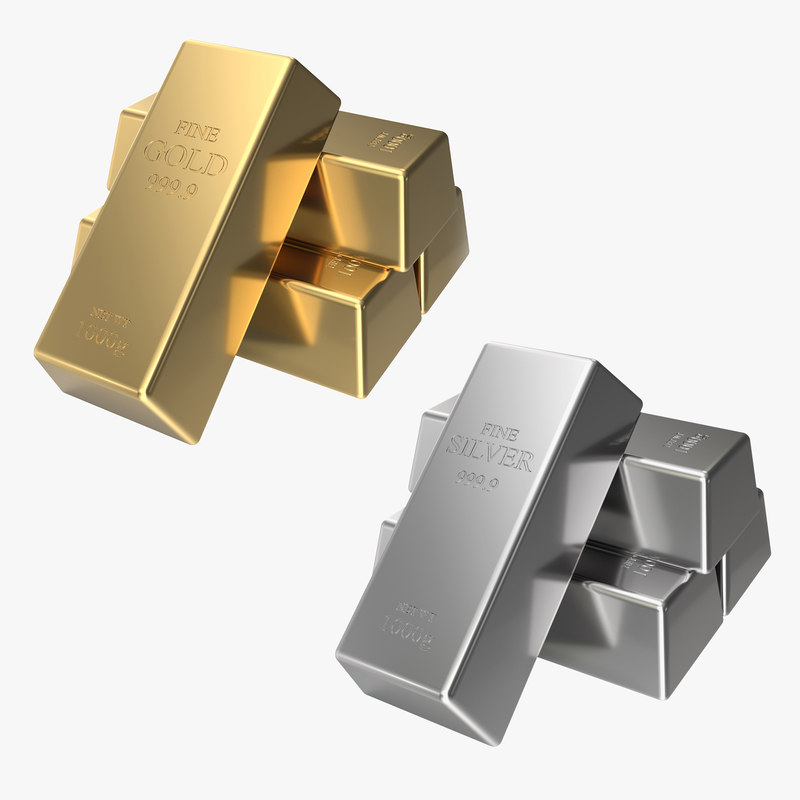 gold silver bars 3D model