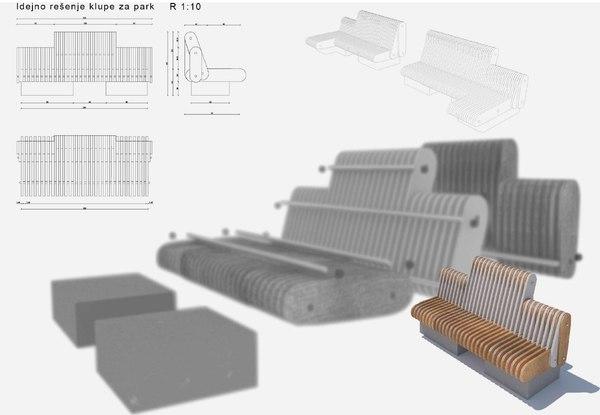 modern bench 2017 3D