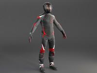 biker motorcycle rider 3D model
