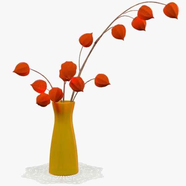 3D physalis vase flowers model
