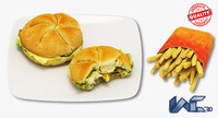 3D burger french fries model