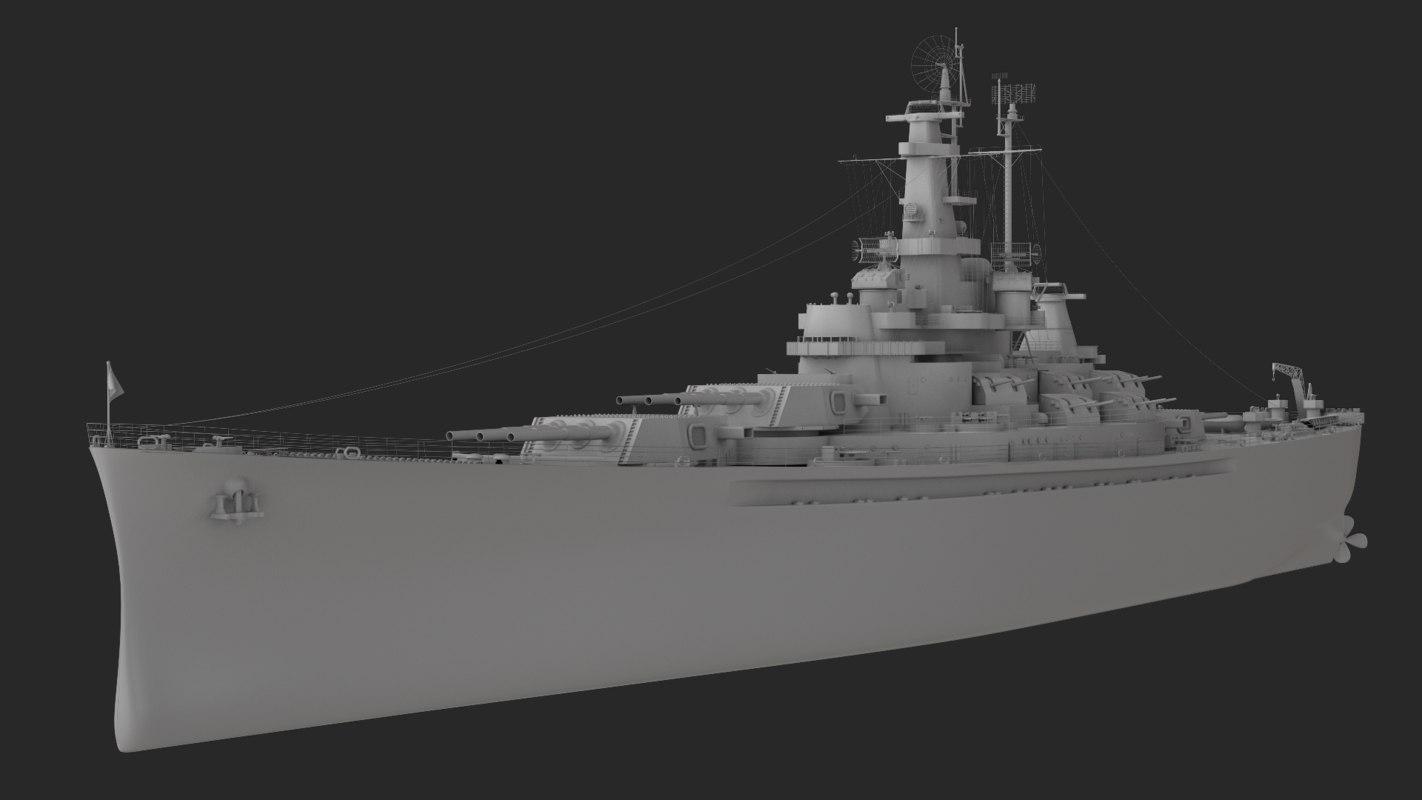 ship military battleship 3D model