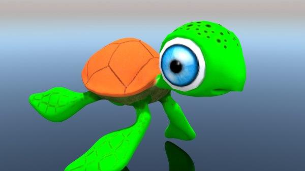 cartoon turtle 3D model