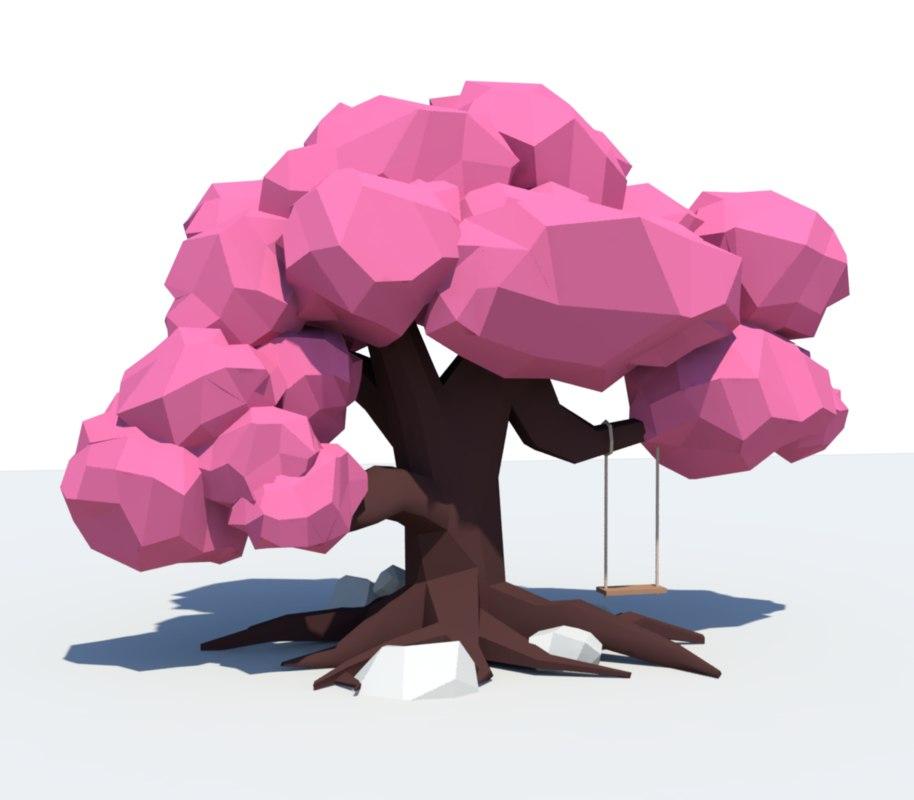 3D model tree swing rocks