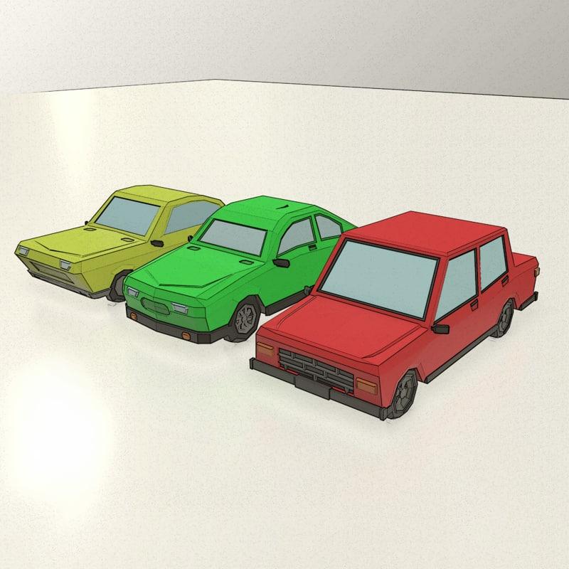 low-poly cartoon vehicles model
