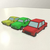 low-poly cartoon vehicles model