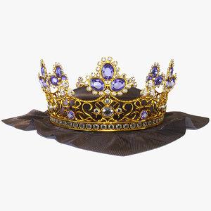 3D antique crown