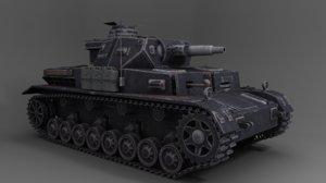 3D ww2 german panzer tank