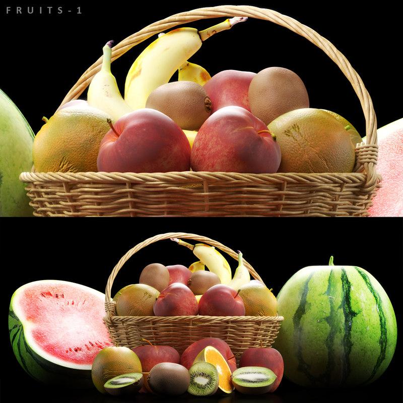 fruits set 3D model