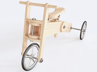 3D wooden push bike model