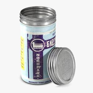 3D model old pills tin tube
