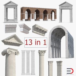 greco roman architecture elements 3D