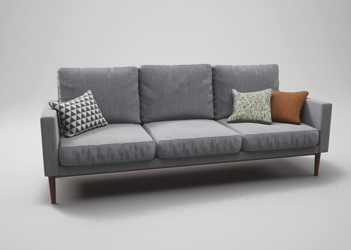 3D grey linen couch model