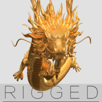 Gold Dragon rigged  V3  HD