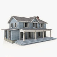 3D american old house