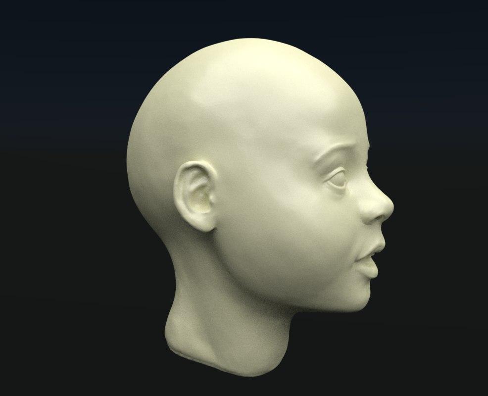 3D model head girl child
