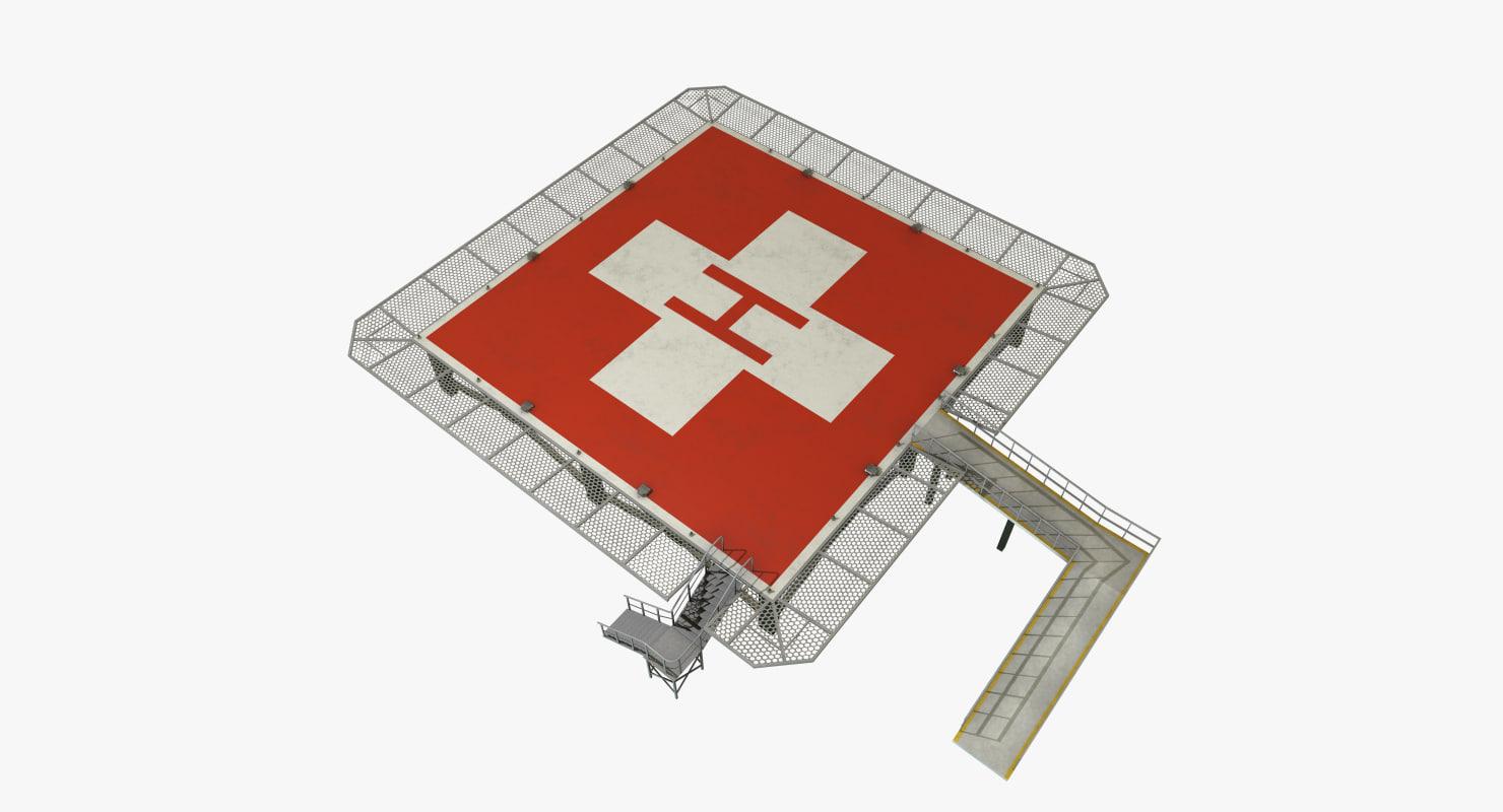 hospital helipad 3D model