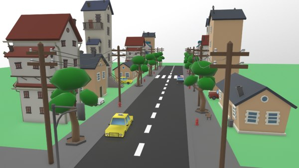 3D cartoon street