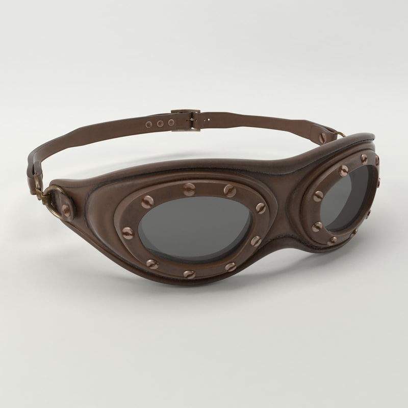 3D vintage aviator goggles