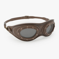 3D vintage aviator goggles