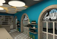 agean terrace restaurant interior 3D model