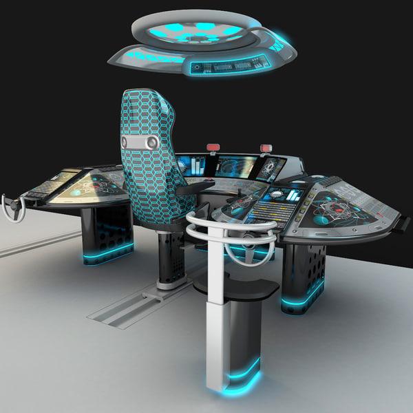 3D model shipboard control bridge
