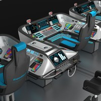 3D shipboard control panel model