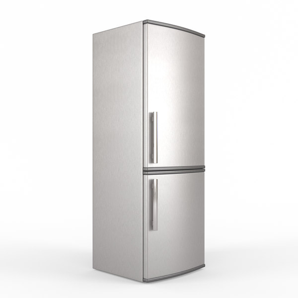 modern stainless steel fridge 3D model