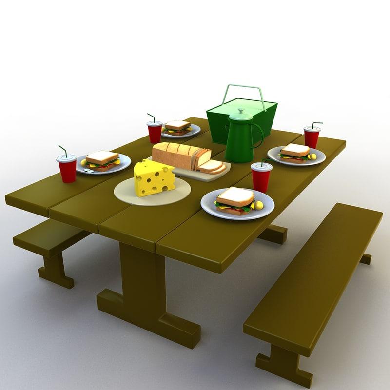 3D model cartoon picnic table