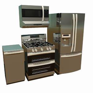 3D set modern kitchen appliances