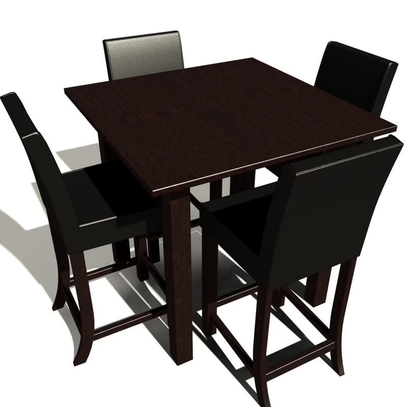 modern kitchen table chair 3D model