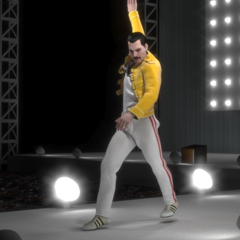 freddie mercury singer rigged character 3D model