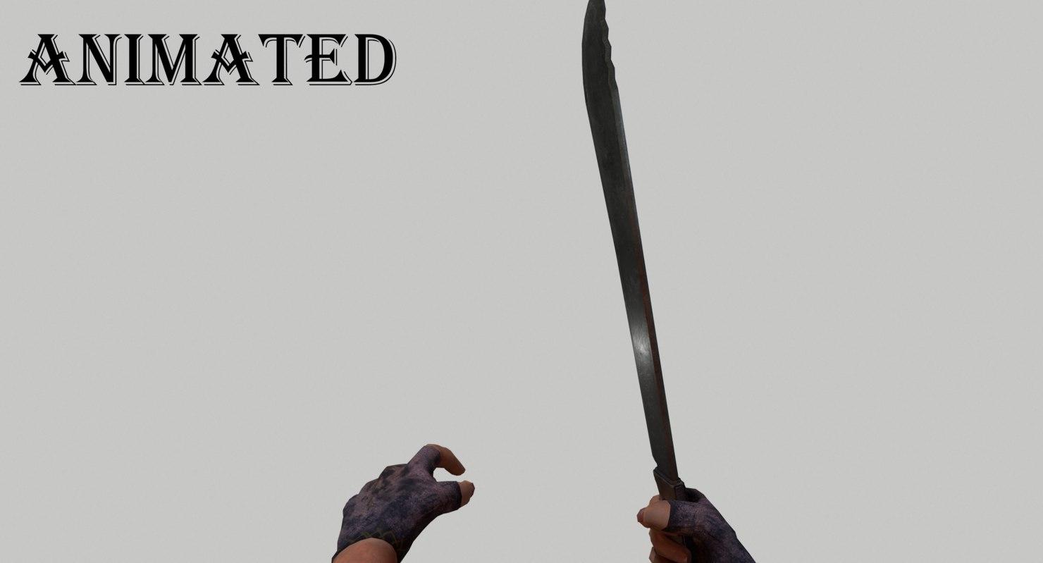 3D model machete fps weapon animation
