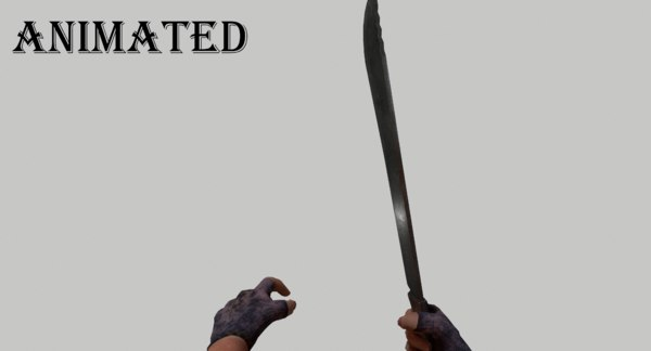 3D model machete fps weapon animation