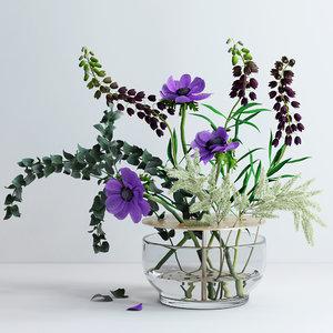 3D spring flowers ikebana vase model