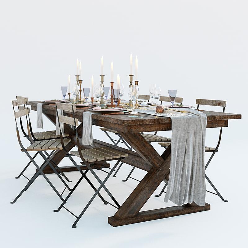3D festive table setting ikea model
