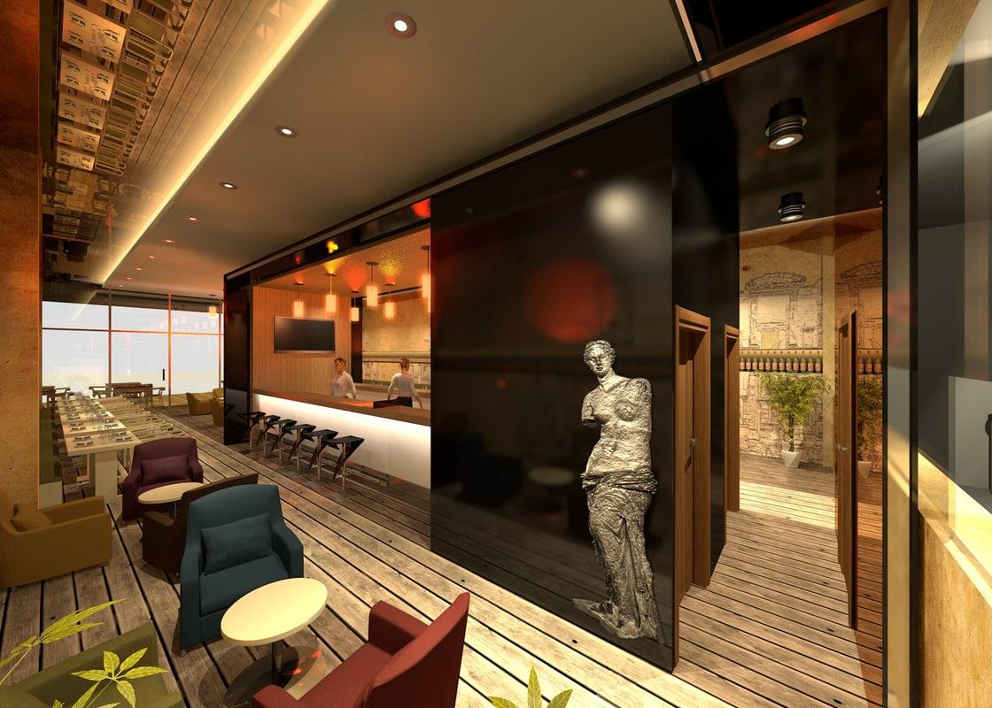 agean restaurant interior 3D