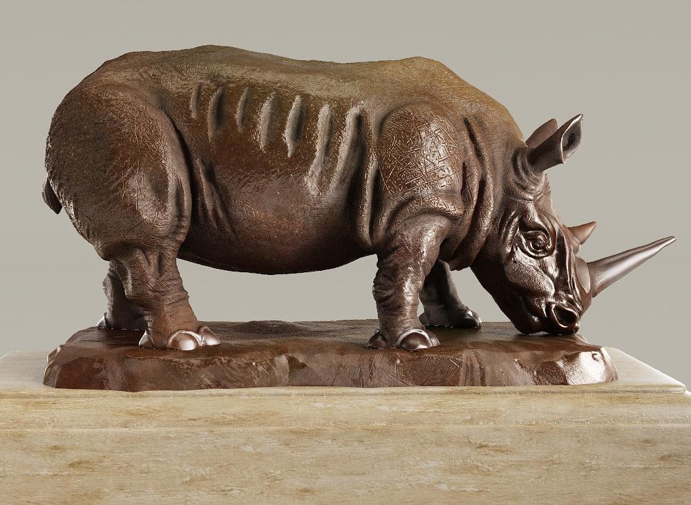 3D rh rhino sculpture model