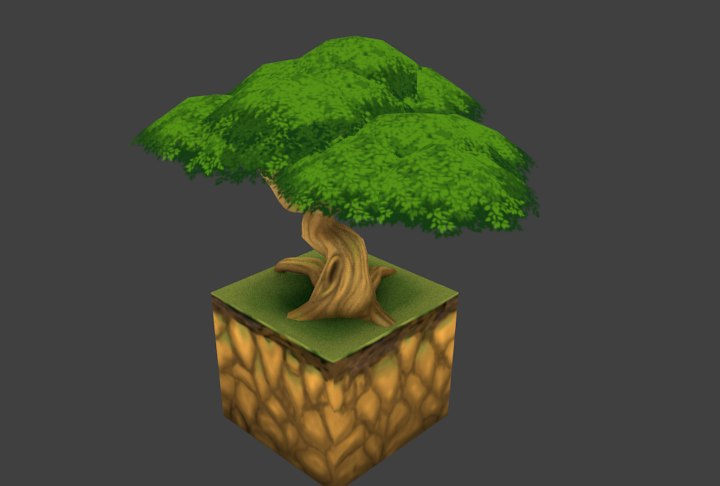 3D model hand painted tree