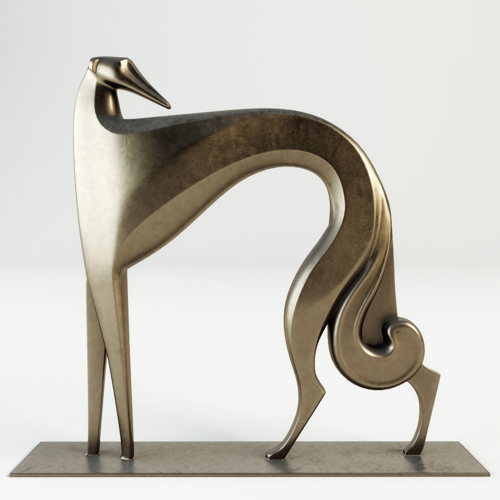 3D greyhound art deco