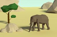 Lowpoly elephant scene
