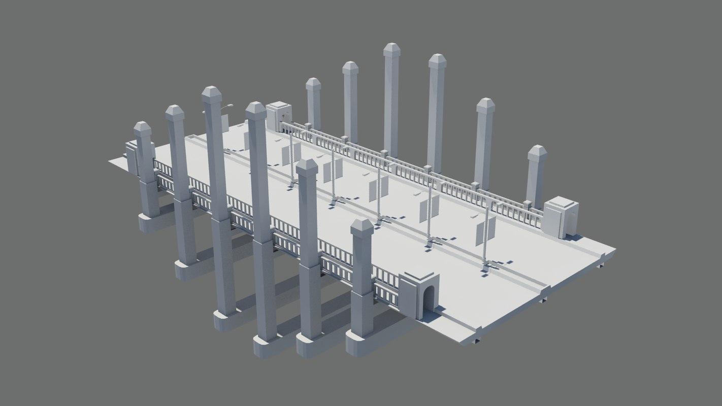 bridge cityscape landscape 3D model