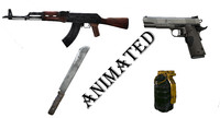 3D fps weapons pack animation model