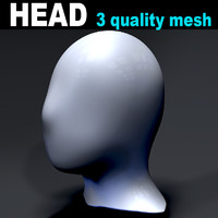 3D head characters 3 meshes